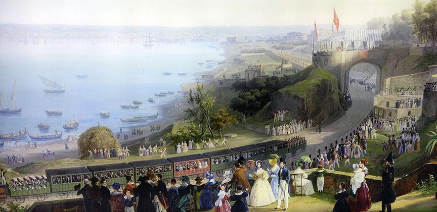 Inauguration della ferrovia Napoli Portici (détail), Salvatore Fergola, 1840 © Musée Chartreuse de San Martino, Naples