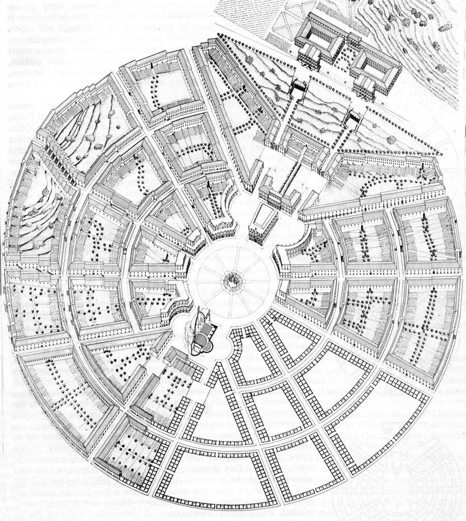 Restitution axonométrique de la nouvelle cité de Ferdinandopoli