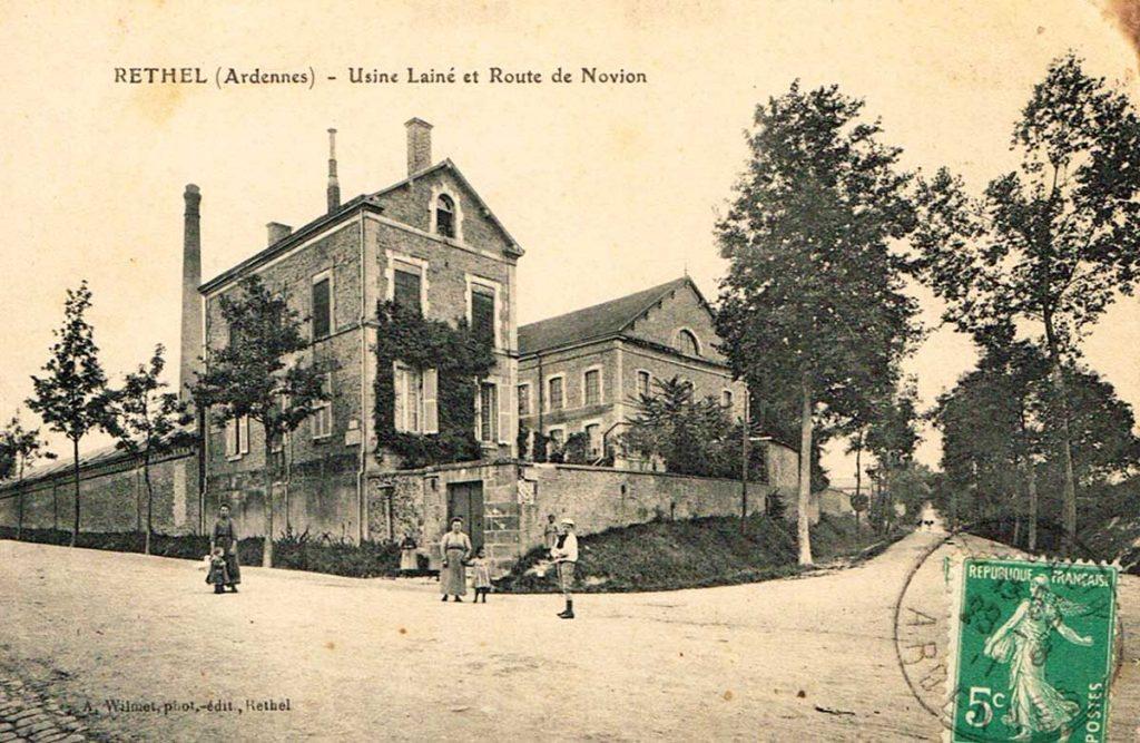 Le site de l'usine Lainé au début du XXe siècle avec le bâtiment Cayenne à droite
