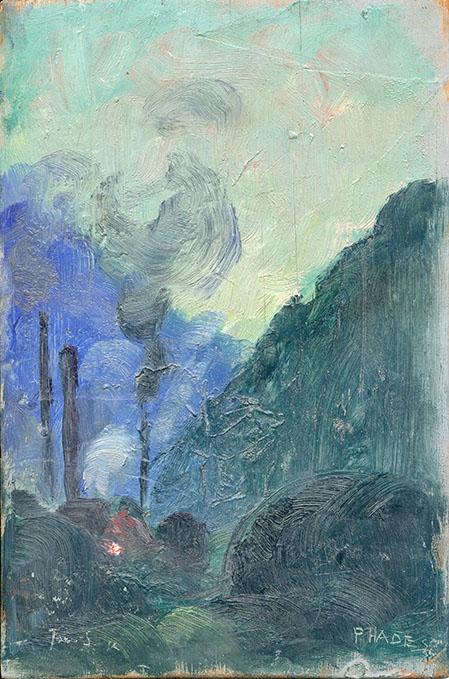 Jacques Simon, Phades (Ardennes), huile sur panneau de bois