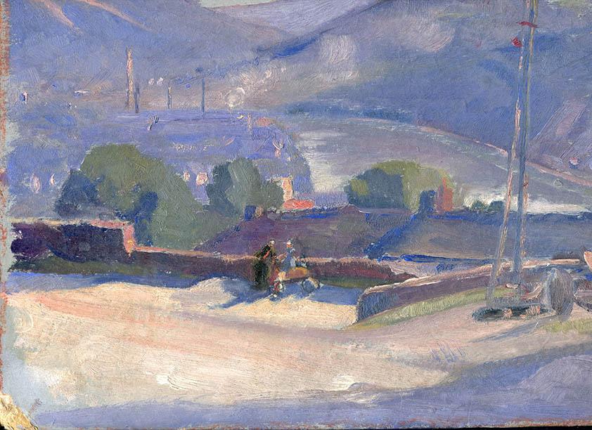 """Jacques Simon Reims, """"Monthermé (Ardennes)"""", huile sur carton rigide"""